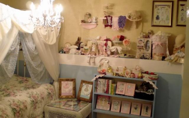 Antique lolita pokoj s postelí, nebesy,...
